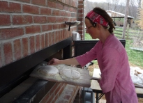 Heather baking in her new oven
