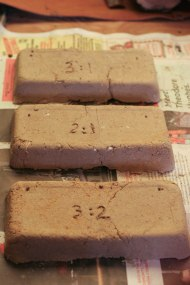 bricks made with different clay:sand ratio s