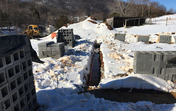 Snow delays construction for two weeks
