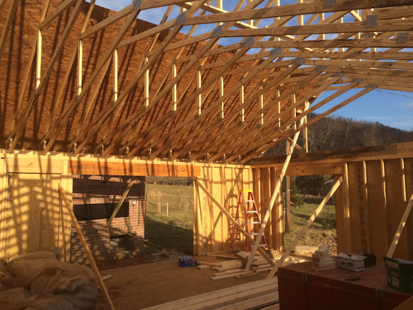 Scissor trusses over the bakery floor